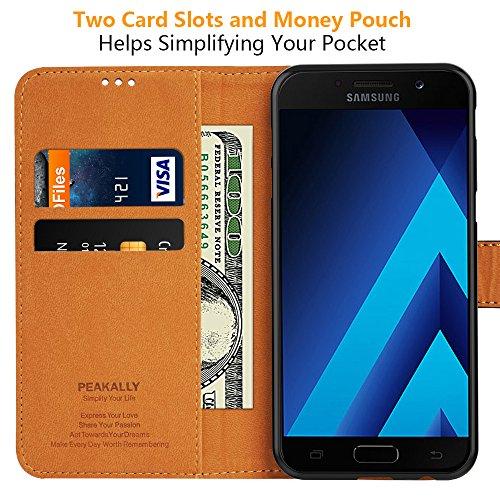 """Peakally Funda Samsung Galaxy A5 2017, Premium Cuero Fundas para Samsung Galaxy A5 2017 [Stand Function] [Ranuras para Tarjetas] Piel PU Carcasa Case con Concha Interna Suave 5.2""""-Negro"""