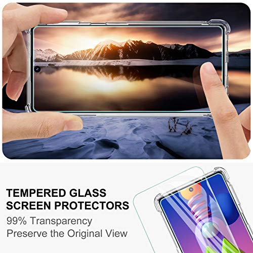Peakally Funda Samsung Galaxy M51 + [2 Pack] Cristal Templado Protector de Pantalla, Carcasa Samsung Galaxy M51 Silicona TPU Ultrafino Móvil Case - Transparente