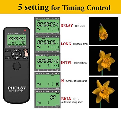 PHOLSY Inalámbrico Temporizador Mando a Distancia Disparador con HDR y Intervalómetro para Nikon Z7, Z6, D750, D780, D7500, D7200, D5600, D5500, P7700, P7800, P950, D3, D4, D5, D6, D800, D850