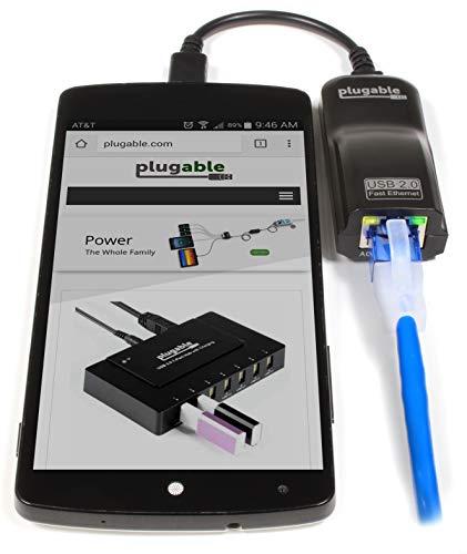 Plugable USB 2.0 OTG Micro-B a 100Mbps Adaptador Fast Ethernet Compatible con Windows Tablets, Raspberry Pi Zero y Algunos Dispositivos Android (chipset ASIX AX88772A)