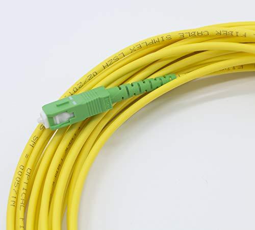 PRENDELUZ Cable Fibra ÓPTICA 15 Metros Universal - Color Amarillo SC/APC a SC/APC monomodo simplex 9/125, Compatible con Orange, Movistar, Vodafone, Jazztel.