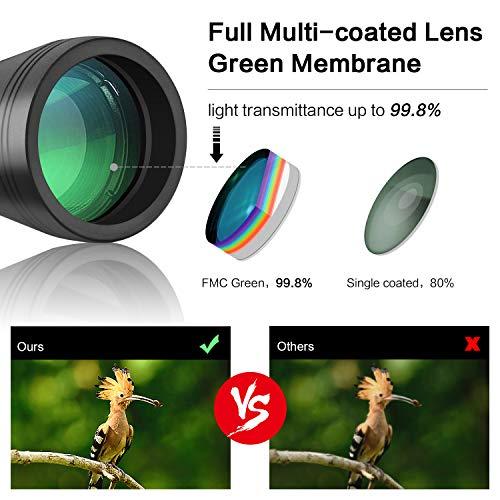 Prismáticos 20X50 RONHAN, Prismaticos HD Profesionales para Adultos Vision Nocturna Débil Binoculares - Prismas BaK4 y FMC - para Observación de Aves, Caza, Senderismo
