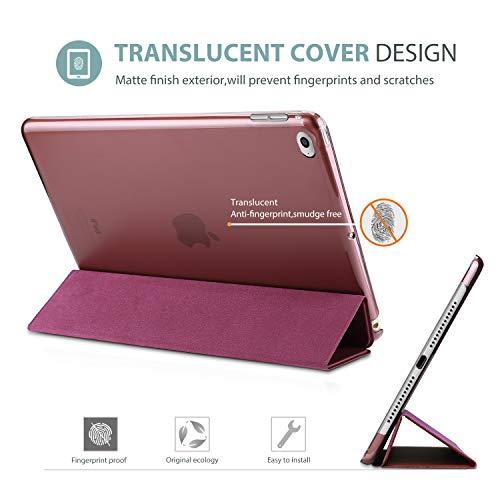 ProCase Funda Inteligente para iPad Air 2 2014, Carcasa Folio Ligera y Delgada con Smart Cover/Reverso Translúcido Esmerilado/Soporte, para Apple iPad Air 2 (A1566 A1567) -Vino