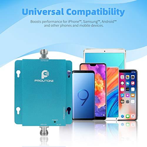 Proutone Amplificador de Señal Móvil 3G Señal de Datos gsm 2G Llamadas para Zonas Rurales, Urbanas, Casa, Oficina-Amplificador de Cobertura Móvil de 900 MHz-Compatible con Todos los Teléfonos Móviles
