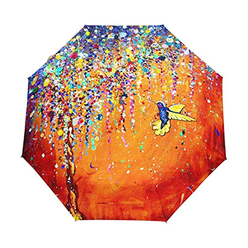 Qiming Paraguas Paraguas De Colibrí Colorido Creativo Paraguas De Protección Solar Anti-UV Pájaro 3 Paraguas De Regalo Plegables Soleados Y Lluviosos para MujeresResistente A La Lluvia Día Lluvioso