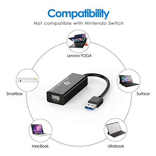 Rankie Adaptador de Red, USB 3,0 a RJ45 10/100/1000Mbps Gigabit Ethernet, Negro