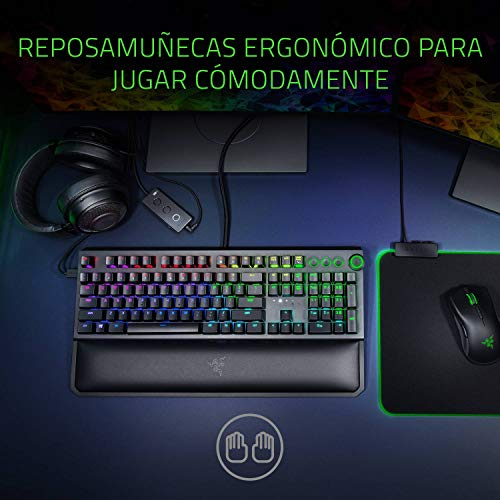 Razer Blackwidow Elite - Teclado Gaming,Teclado Mecánico Para Juegos Completo, Dial Digital Multifunción, Reposamuñecas Ergonómico, Teclas Controlables, Memoria Híbrida Integrada, ES Layout, Negro