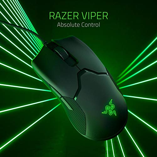 Razer Viper Ratón Gaming ligero Ambidiestro Cableado con Sensor Óptico ,16.000 Dpi , Interruptores Rápidos , Para Juegos con Iluminación de Chroma, LED Óptico/Cable/USB, Negro