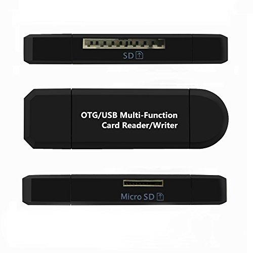 REY Adaptador OTG USB y Micro USB Multifunción con Lector de Tarjetas de Memoria SD y Micro SD