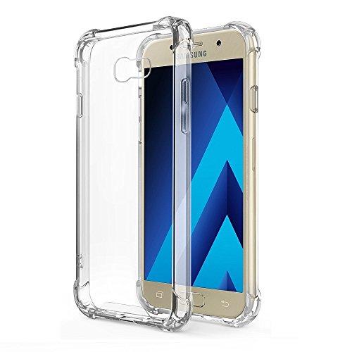 REY Funda Anti-Shock Gel Transparente para Samsung Galaxy A5 2017, Ultra Fina 0,33mm, Esquinas Reforzadas, Silicona TPU de Alta Resistencia y Flexibilidad
