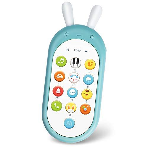 Richgv Juguetes Teléfono Bilingüe, Mando a Distancia Conejo, Juguete Electrónico Bebé,Teléfono Infantil con Luces, Sonidos y Canciones en Inglés (Azul)