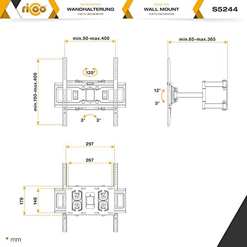 "RICOO S5244, Soporte TV Pared, Giratorio, Inclinable, Televisión 32-55"" (81-140cm), Brazo Universal, Televisor LED LCD Curvo, VESA 200x200-400x400"