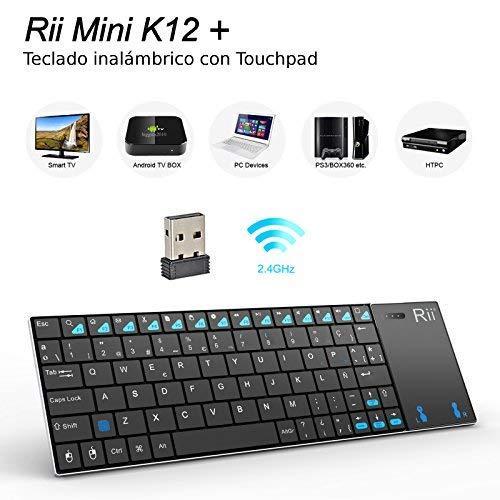 Rii K12 Mini - Teclado con touchpad (WiFi 2.4 GHz, USB, Acero Inoxidable), Color Negro - QWERTY Español