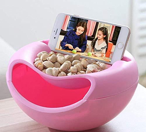 rukauf - Cuenco para aperitivos, para aperitivos, nueces, semillas con soporte para móvil, color rosa