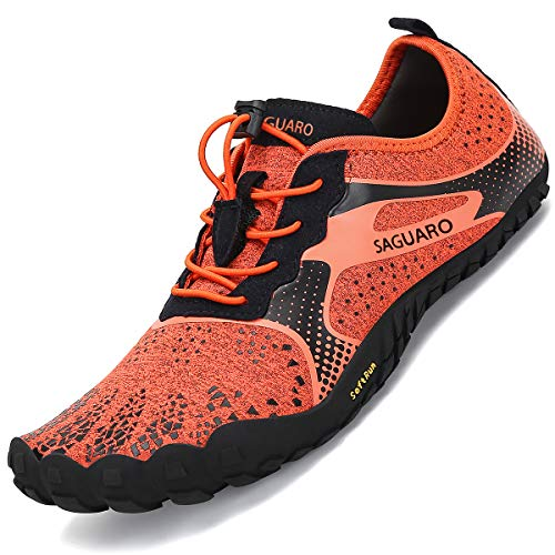 SAGUARO Minimalistas Zapatillas de Barefoot Trail Running para Mujer Antideslizante Five Fingers Calzado Minimalista Portland Orange 36 EU