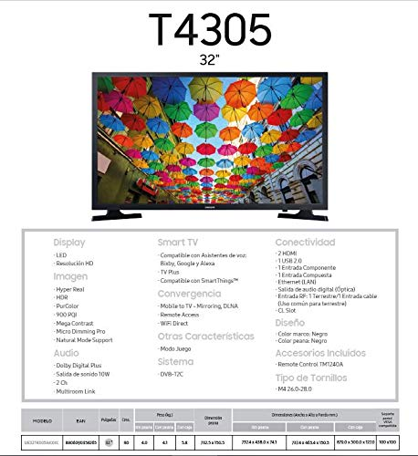 "Samsung 32T4305 2020 - Smart TV de 32"" con Resolución HD, HDR, PurColor, Ultra Clean View y Compatible con Asistentes de Voz (Alexa)"