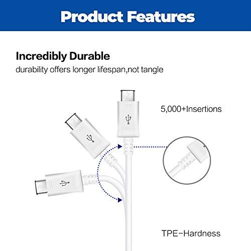 SAMSUNG Cable de Datos USB Galaxy A5 (2017) A7 (2017) (2017) Galaxy S8 / S8 Plus de 5 pies, Color Blanco