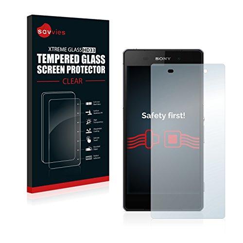 savvies Cristal Templado Compatible con Sony Xperia Z2 D6503 Protector Pantalla Vidrio Proteccion 9H Pelicula Anti-Huellas