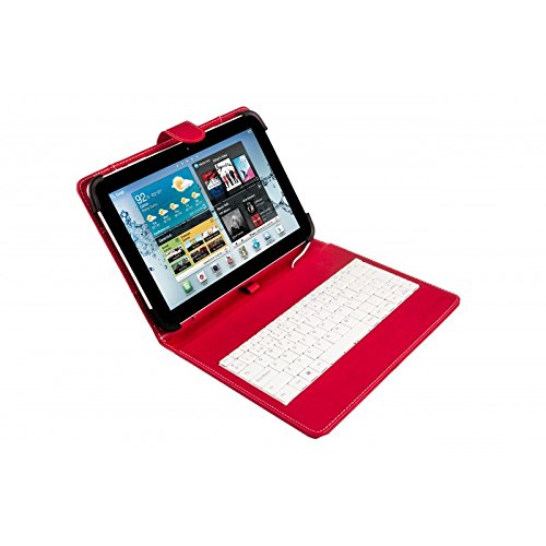 """Silver HT - Funda Universal con Teclado Micro USB para Tablet de 9"""" a 10.1"""", Color Rojo y Blanco"""