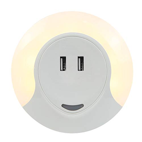 Slosh Luce Notturna con Sensor de Crepusculo y Caricatore USB con 2 Porte 3 Modalità automático / on / off Luz de noche automática Luce Nocturna Lampada Comodino Camera