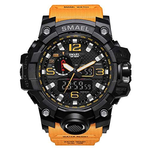 SMAELBand Hombres Reloj Militar Reloj de Pulsera Resistente al Agua 50m Reloj Deportivo de Cuarzo LED Hombre Deporte Reloj Hombres s Shock,Orange