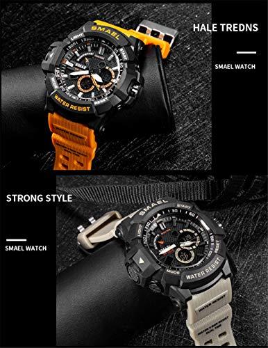 SMAELBand Relojes Militares para Hombres Relojes Deportivos de Cuarzo Reloj LED Grande para Hombre Relojes para Hombre Reloj Impermeable de 50 m,Orange