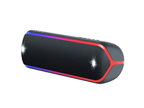 Sony SRS-XB32B - Altavoz inalámbrico portátil (Bluetooth, Extra Bass, diseño portátil, batería hasta 12h, Sonido Live Sound, Party Booster, Luces, Resistente al Agua y Polvo IP67) Negro