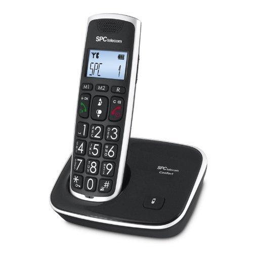 SPC Comfort Kaiser teléfono inalámbrico color negro con teclas y digitos grandes, compatible con audífonos, agenda de 20 nombres y números y manos libres