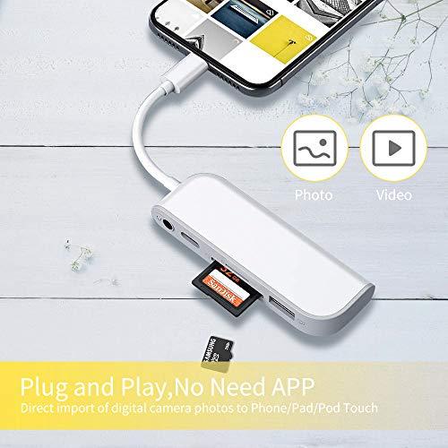 SwiftLand SD TF Lector de Tarjetas, Adaptador de USB a Phone Pad, Adaptador de Lector de Tarjetas 5 en 1 con 1 Interfaz USB 2.0 OTG, Lector de Tarjetas SD/TF, 1 Puerto PD, Conector de Audio de 3,5 mm
