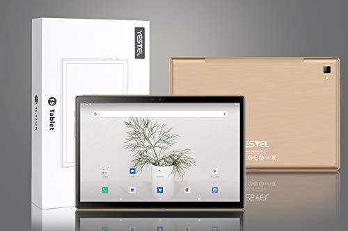 Tablet 10 Pulgadas, 5G Wi-Fi, 4G LTE Dual SIM, Android 10.0 YESTEL T5 Tablet PC, Procesador Octa-Core 1.6 GHz, HD Display, Face ID, 3 GB de RAM, 64 GB Ampliables hasta 128 GB, Color Dorado