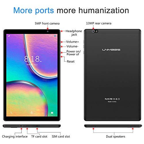 Tablet 10 Pulgadas LNMBBS P30 Android 9.0 5G Wi-Fi Tableta de Procesador Octa-Core, 64GB ROM y 3GB RAM Tablet PC con Tarjeta Sim y Wi-Fi, 13MP y 5MP Cámara, Pantalla HD IPS de 1920*1200, GPS (Negro)