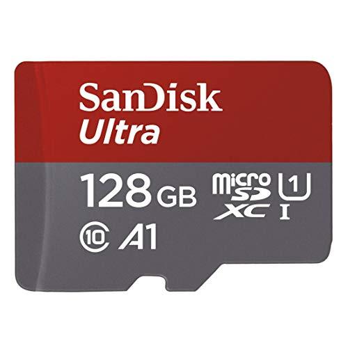 Tarjeta de Memoria SanDisk Ultra Imaging microSDXC de 128 GB con Adaptador SD con hasta 100 MB/s y Class 10, U1, A1, Gris y Rojo