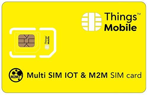 Tarjeta MULTI SIM de DATOS para IOT - Things Mobile - con cobertura global y red multioperador GSM/2G/3G/4G, sin costes fijos, sin vencimiento y con tarifas competitivas. 10 € de crédito incluido
