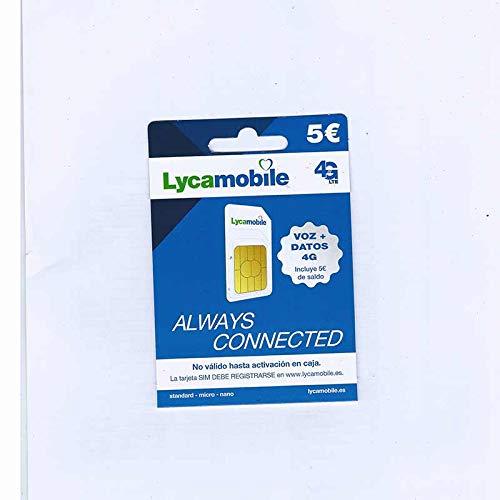 Tarjeta SIM Lycamobile - 5 Registrate TÚ Mismo - Voz + Datos 4G - Cobertura Movistar
