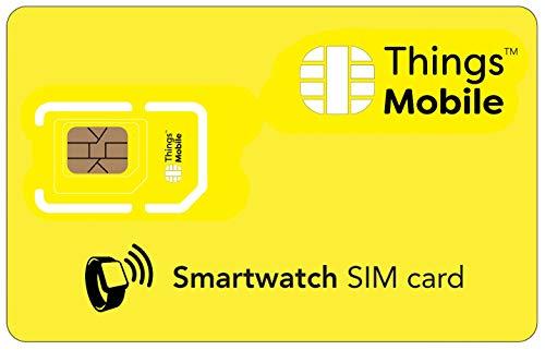 Tarjeta SIM para SMARTWATCH / RELOJ INTELIGENTE - Things Mobile - cobertura global, red multioperador GSM/2G/3G/4G, sin costes fijos, sin vencimiento. Crédito no incluido