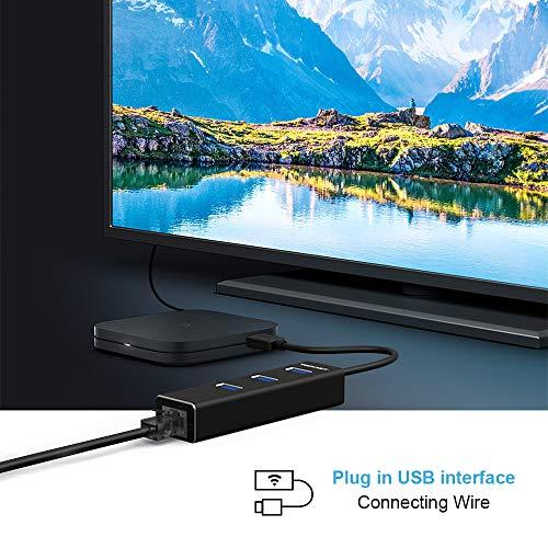 TECKNET [ Versión Nuevo] Hub USB 3.0 de 4 Puertos Ethernet Adaptador 10/100/1000 Ggabit Ethernet LAN, USB 3.0 Hub de 3 Puerto y Puerto RJ 45, Compatible con Macbook Pro, Xiao mi Box, Notebook e PC