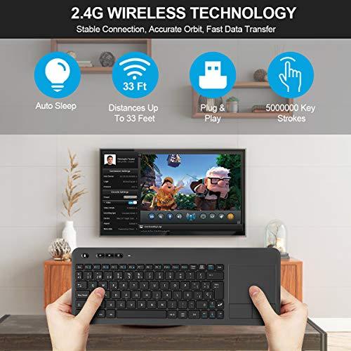 TedGem Teclado Inalámbrico USB, 2,4GHz Teclados Inalambricos para Smart TV Teclados Inalambricos Ordenador Teclado Touchpad con Receptor Nano USB para PC/Laptops/Tablet/Smart TV/Portátil