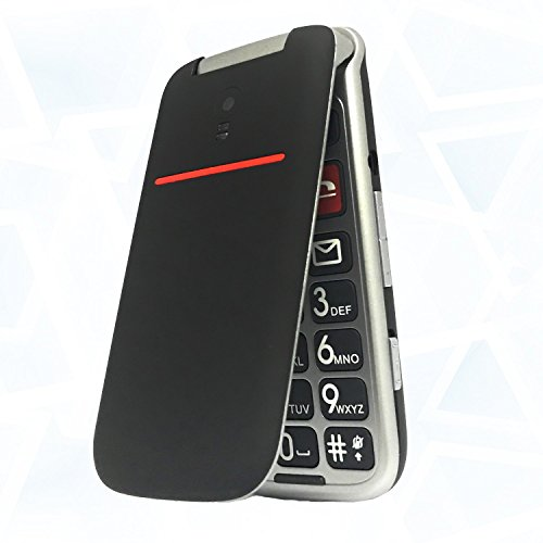 Teléfono Móvil para Personas Mayores Teclas Grandes con Tapa Pantalla de 2,4 Pulgadas Tecla de Emergencia Botón SOS Cámara Fácil de Usar para Ancianos, Artfone Flip CF241A, Negro