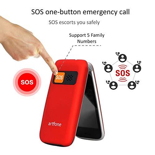 Teléfono Móvil para Personas Mayores Teclas Grandes con Tapa Pantalla de 2,4 Pulgadas Tecla de Emergencia Botón SOS Cámara Fácil de Usar para Ancianos y Base cargadora, Artfone Flip CF241A, Rojo