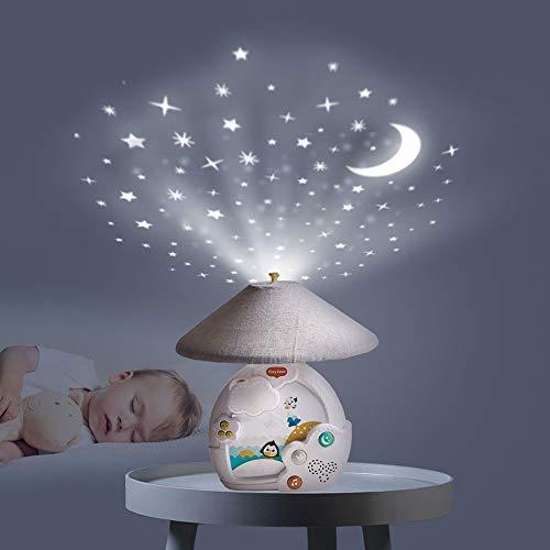 Tiny Love Magical Night Carrusel cuna bebé, Movil musical y proyector con luz nocturna de estrellas, 9 melodias 30 minutos de musica continua, Polar Wonders