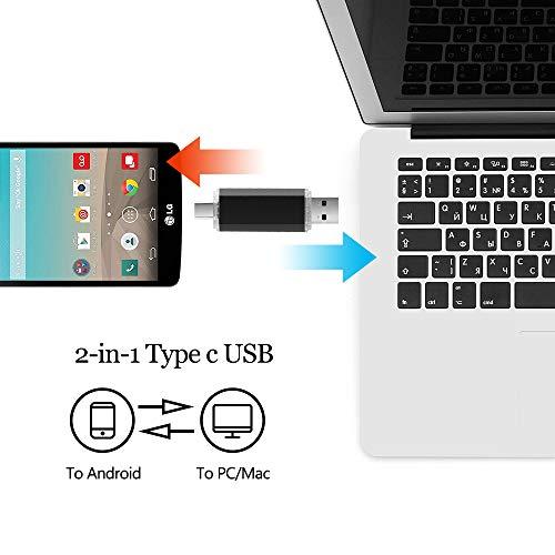 Tipo C Memoria USB 32GB, 2 en 1 OTG Pen Drive 32 GB USB C Memoria Flash USB Stick 32GB para Portátil, Teléfono y Otras Dispositivos USB o Type C (Negro)