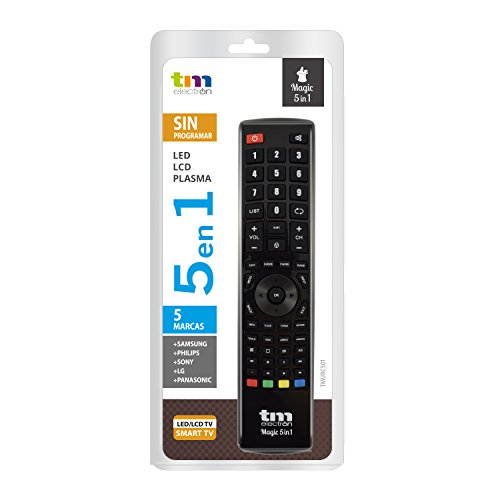 TM Electron TMURC501 - Mando a distancia universal Magic 5 en 1 compatible con televisores de grandes marcas, no necesita programación ni códigos