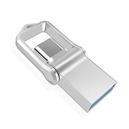 TOPESEL Memoria USB 32GB Tipo C USB 3.0 Dual 2 en 1 OTG Flash Drive Pendrives Impermeable, Mini Llave USB Portátiles para Samsung Galaxy S8, S8 Plus, Note 8, LG G6, V30, Google Pixel XL, Plata