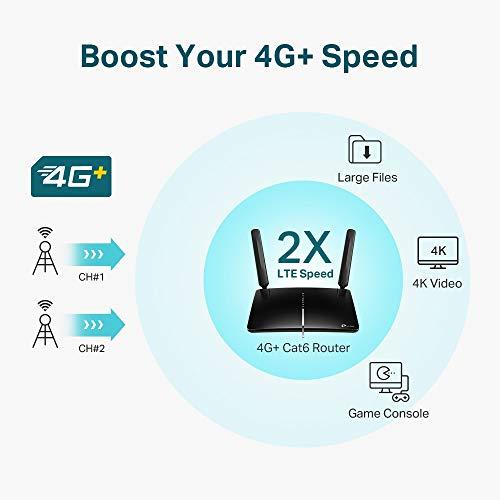 TP-Link Archer MR600 Router 4G + Advanced LTE CAT6, Wi-Fi AC1200 5GHz & 2.4GHz, 4 Puertos Gigabit, 2 Antenas Desmontables, MicroSIM, Compatible con Todos los operadores.