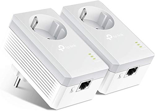 TP-Link TL-PA4010P Kit Powerline con enchufe adicional, AV 600 Mbps en Powerline, 1 puerto ethernet, homeplug AV, sin wifi, solución para dispositivos con cable como PC, decodificador Sky, PS4