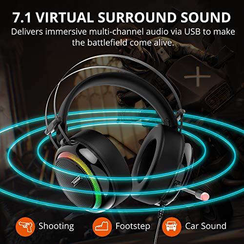 Tronsmart Auriculares Gaming Sonido Envolvente 7.1-Drivers de Transductores 50mm-Profesional con Micrófono Diadema-Cancelación de Ruido-Glary-Cascos Gaming-Función Mute y Luces LED,PC&PS4 gamer