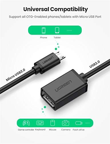 UGREEN Cable OTG Micro USB Android, Adaptador Micro USB 2.0 OTG Macho a Hembra Convertidor para Tablet Samsung Galaxy Tab S2, Teléfono Móvil, Cámara dji Spark, Grabadora de DV