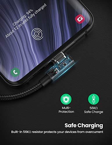 UGREEN Cable USB Tipo C 90 Grados a USB A 2.0 Cable Codo Nylon Trenzado Carga Rápida para Móvil USB C Samsung Note S20 S10 S9 A50 A70 S8, Xiaomi Redmi 9 Note 7 8 Mi 9 Mi A3 A2, BQ Aquaris X, 0,5 Metro