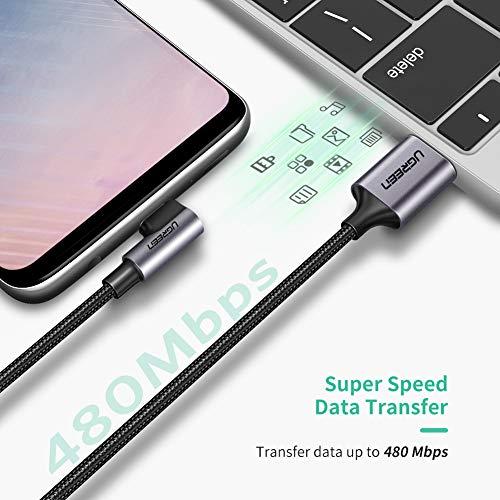 UGREEN Cable USB Tipo C 90 Grados, Cable USB 2.0 a USB C Carga Rápida, Cable USB C Codo para Xiaomi Mi A2, A3, Redmi Note 7, Redmi Note 8 Pro, Pocophone, Samsung A50, iPad Pro 2020, 2018 (1 Metro)
