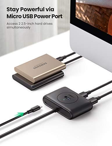 UGREEN Hub USB 3.0 4 Puertos 5Gbps con Cable de 1 Metro, para PC, Raspberry pi 4, PS4, Xbox, Macbook, Disco Duro Externo, Lector de tarjetas, Móviles y Windows Surface, Ultrabook, ect (Negro)